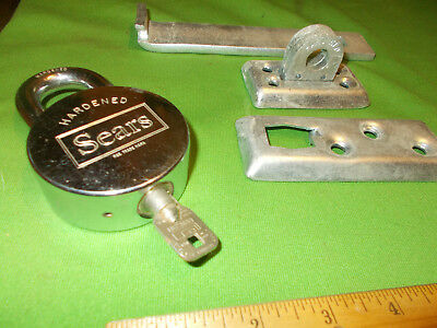 Vintage Large Heavy Duty Sears Padlock Lock & Key  And Hardened Door Clasp