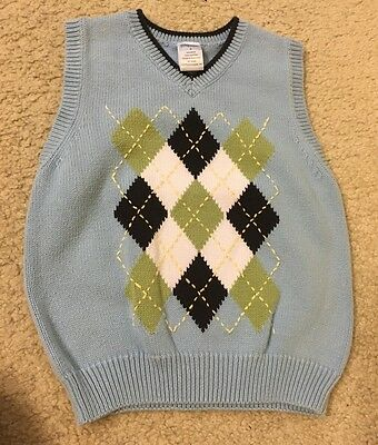 Gymboree Boy 4/4T COUNTRY CLUB Light Blue Argyle Sweater Vest Holiday Easter