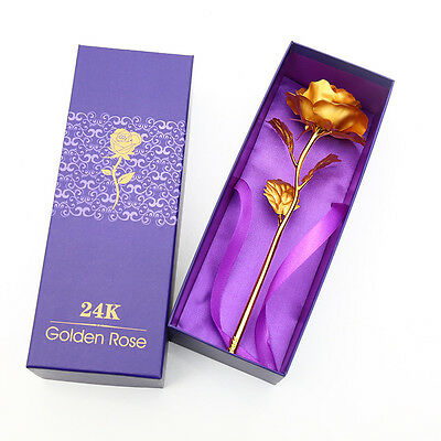 Gold Plated Rose Flower 24K Dipped Foil Decor Mothers Valentine Day Gift New
