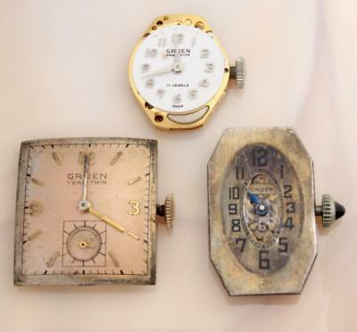 Vintage Gruen Wristwatch Movements (Lot Of 3) 2 Working 1 Not
