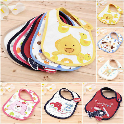 Cartoon Toddler Lunch Bibs Burp Cloths Baby Towel Saliva Waterproof Cotton CC