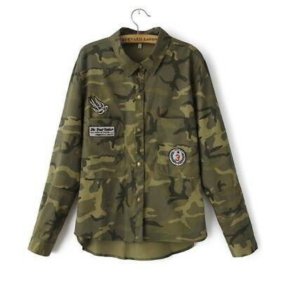Women Military Jacket Camouflage Collar Wide Waisted Printed Coat Casual Fashion