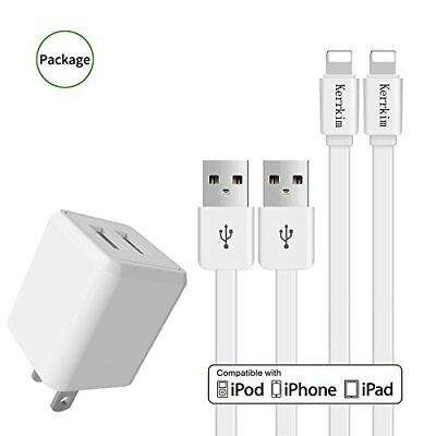 Iphone Charger 2.4A 12W Dual Port USB Travel Wall with 5FT 2-PACK Long Durable 8