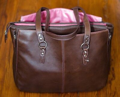 """Buxton Madison Business 15"""" Laptop Tote Brown Leather Pink Trim Shoulder Bag"""