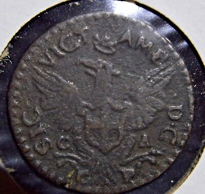 1716 Kingdom of Sicily/Savoy 3 Piccioli Copper Coin - Ultra Rare Ca-Cp Variety