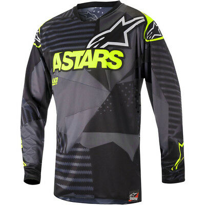 NEW 2018 Alpinestars Racer Tactical Adults MX Motocross Jersey Black/Fluro