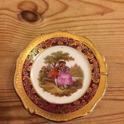 Vintage Limoges small red gold gilt plate lovers courtship scene11.5cm dia  gc