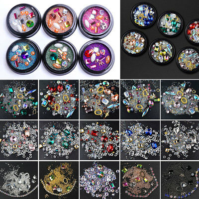 3D DIY Nail Art Mixed Crystal Decoration Rhinestones Glitter Diamonds Ball Box