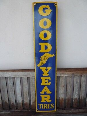 """old GOODYEAR porcelain sign 39"""" heavy convex tires advertising tyres service"""