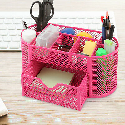Pink Desk Organizer Mesh Metal Desktop Office Pen Pencil Holder Storage Tray