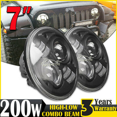 2x 7inch 200W H4 CREE LED Driving Light Hi-Low Beam Headlight Lamp Offroad Round