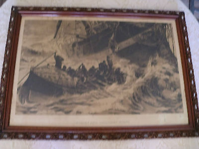 "Antique (1913) Nautical Lithograph ""Women and Children First"""