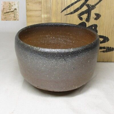 C096: Japanese BIZEN pottery tea bowl of good natural glaze with box