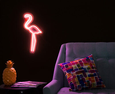 LIT. 49x25cm LED Flexflam Neon Flamingo Wall Light - Pink/Yellow