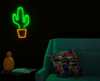 LIT. 46x25cm LED Flexcac Neon Cactus Wall Light - Green/Orange