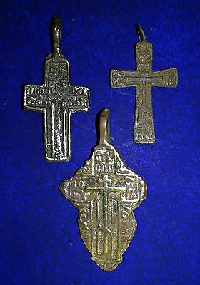 Medieval period Bronze Cross Pendant.3 pcs.