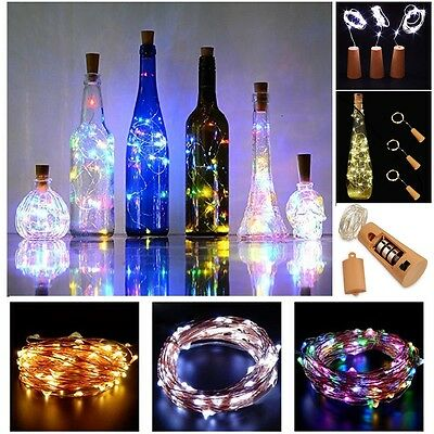 8X20LED Copper Wire Cork Wine Bottle Starry Fairy Light for Wedding Party 6.56ft