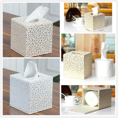 Square PU Leather Tissue Box Toilet Holder Cover Paper Case Home Office
