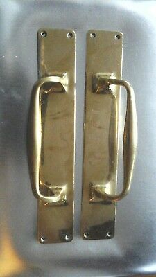 Antique Large Reclaimed Pair of Solid Brass Door Pull Handles 30cm