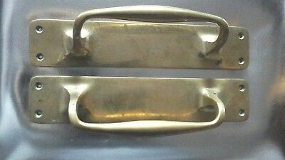 Antique Large Reclaimed Heavy Pair of Solid Brass Door Pull Handles 30cm