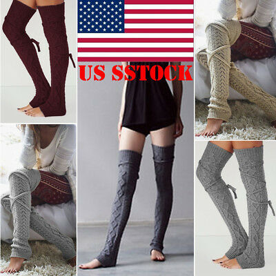 US STOCK HOT Women Warm Leg Warmer Lace Trim Knit Knee High Crochet Boot Socks