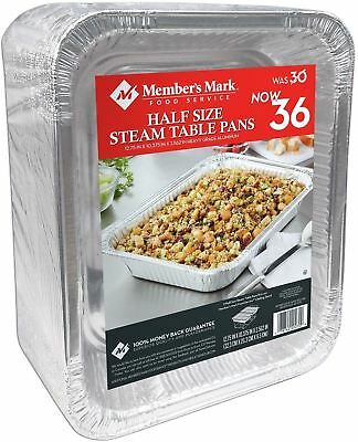 Member's Mark Aluminum Steam Table Pans, Half Size (36 Ct.)