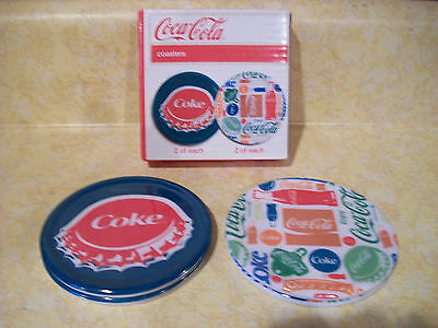 Lot of 4  Coca Cola Collection Retro Looking Plastic Coasters  New In Box