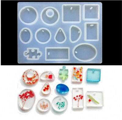 12 Silicone Mould Pendant Jewelry Making Necklace Mold Craft DIY Resin Round GN