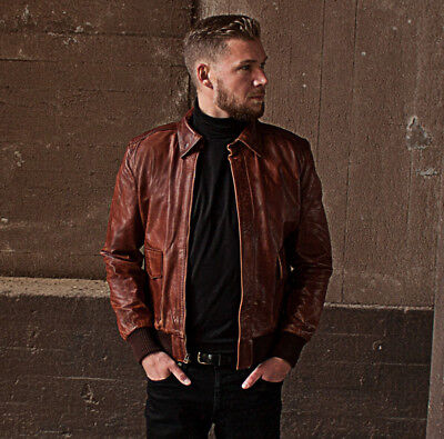 ae92f4c8a3a43a Aviator A-2 Flight Jacket Distressed Brown Genuine Leather Bomber Jacket
