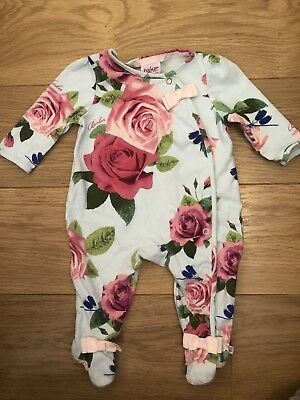 Baby Girls Blue Rose Ted Baker 0-3 Months Babygrow Sleepsuit Sought After Print