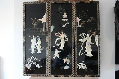3 Late 19th Century Japanese Wall Lacquer Panel Applied Mother of Pearl  92x31cm