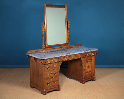 Antique Large Gothic Revival Dressing Table by Lamb of Manchester c.1870.