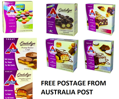 Atkins Multi Pack - 7 Boxes Of Atkins Low Carb Snacks Bars Free Postage Hurry!