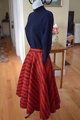 """1950's Red And Black Cotton Quilted Circle Skirt Holiday Colors Ilene Ricky 25"""""""