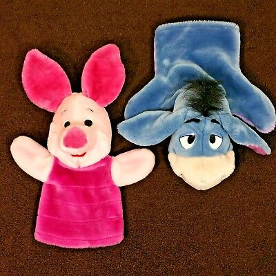 "Eeyore Piglet Plush Hand Puppets Disney Winnie The Pooh 10"" Lot of 2"