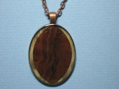 Handmade Figured Black Walnut Wood and Resin Pendant Necklace Antique Bronze