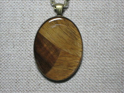 Handmade Black Walnut Freeform Wood & Resin Pendant Necklace Antique Brass Bezel