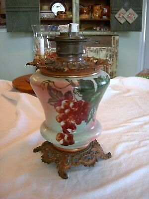 Antique Gone With The Wind Hand-Painted Oil Lamp - Grape Clusters Non-Electric