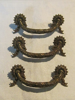 3 old ornate French Provincial drawer pulls or handles marked K414