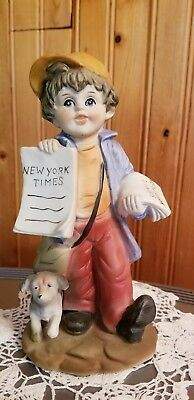 Vintage Homco News Paper Boy Selling New York Times-Euc