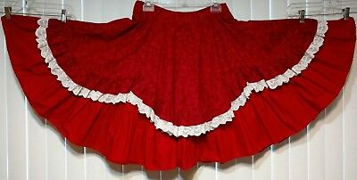 """Womens  Square Dance Skirt 27-34"""" waist Red 2 Layer, Lace Edged Ruffle hand made"""