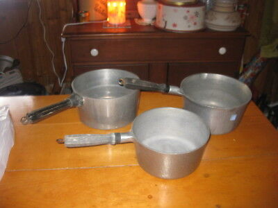 LOT OF 3 VINTAGE CLUB HAMMERED ALUMINUM  SAUCE POT one with lip