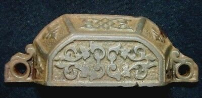 """1 Antique 1870s cast iron window sash lift drawer cup pull handle: holes=3-1/16"""""""