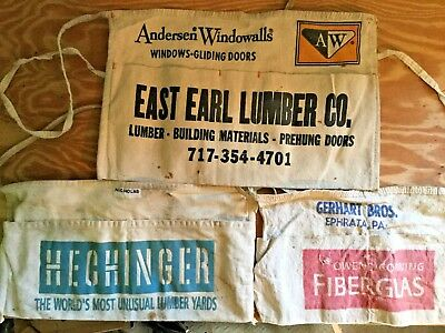 Lot of 3 Vintage Aprons Hardware Lumber Tools Advertising Nails Screws Hechinger