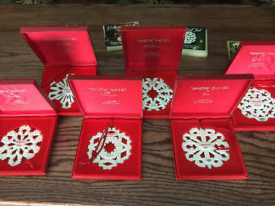 Longaberger Collector Club Set of 6 SNOW DAYS CHRISTMAS ORNAMENT 2000-05 NIB