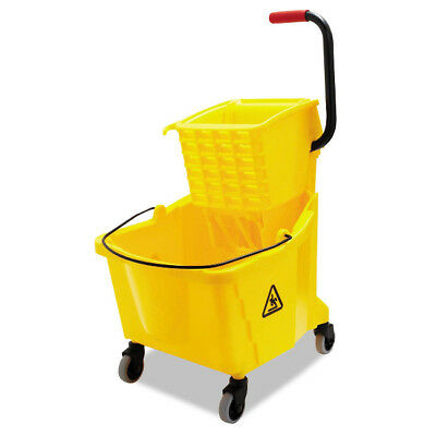 Mop Wringer & Bucket With Wheels Professional Grade Plastic Durable Side Press
