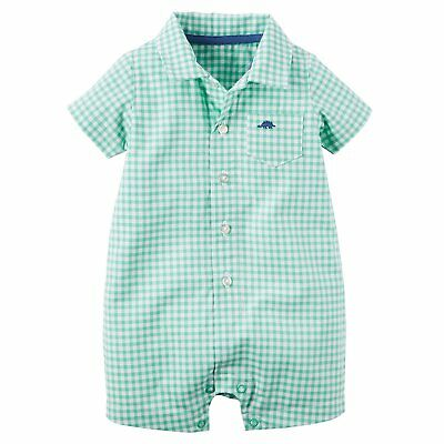 Carter's Baby Boy Size 6 Months Gingham Dino Romper, Green/White