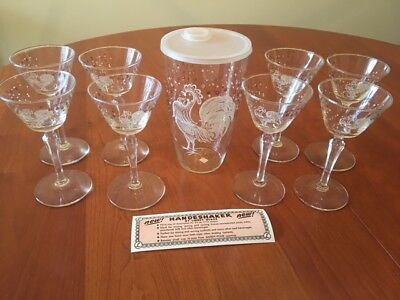 Vintage Cocktail Martini Shaker 8 Glasses Libbey Chanticleer Rooster Full Set