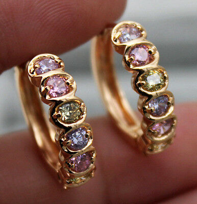 18K Yellow Gold Filled - Round Amethyst Emerald Topaz Zircon Party Hoop Earrings