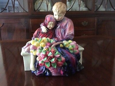 "Rare Royal Doulton Figure ""The Flower Seller's Children"" Old Handwritten"